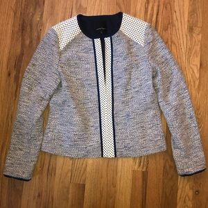 Nanette Lepore tweed and perforated leather blazer